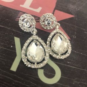 Ice dangling Crystal &Cubic zirconia Post Earrings